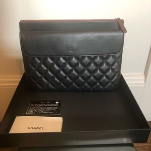 Chanel Black Leather Flap Clutch